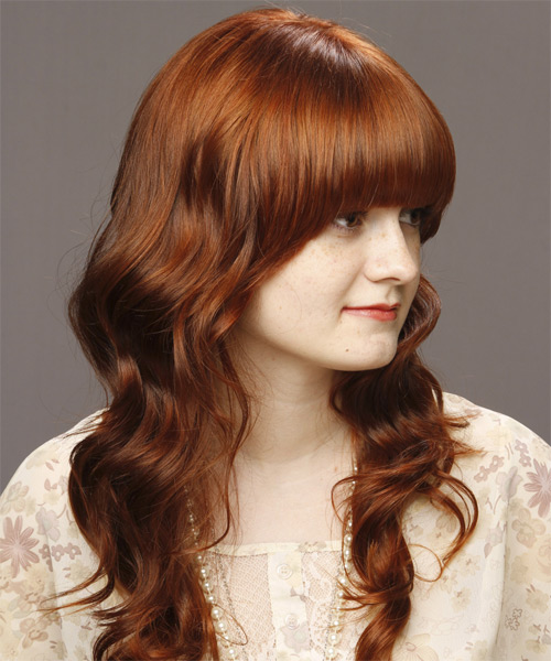 Medium Wavy   Light Auburn Brunette   Hairstyle with Blunt Cut Bangs  - Side View