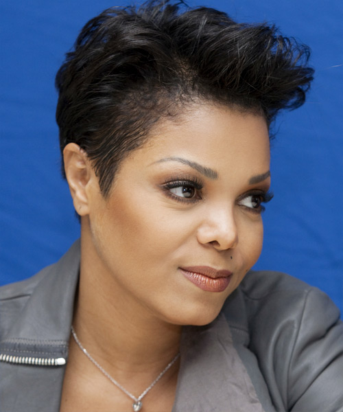 Janet Jackson  Short Straight Casual  Pixie  Hairstyle   - Black  Hair Color - Side View