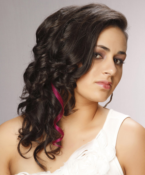 Long Curly Formal    Hairstyle   - Dark Brunette Hair Color with Purple Highlights - Side View