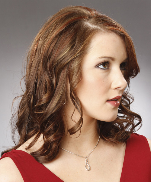 Medium Wavy Formal    Hairstyle   -  Chocolate Brunette Hair Color - Side View