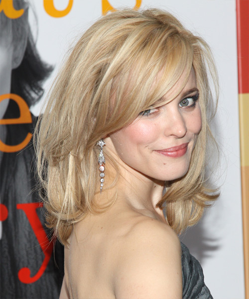 Rachel McAdams Medium Straight Formal   Hairstyle with Side Swept Bangs  - Side View