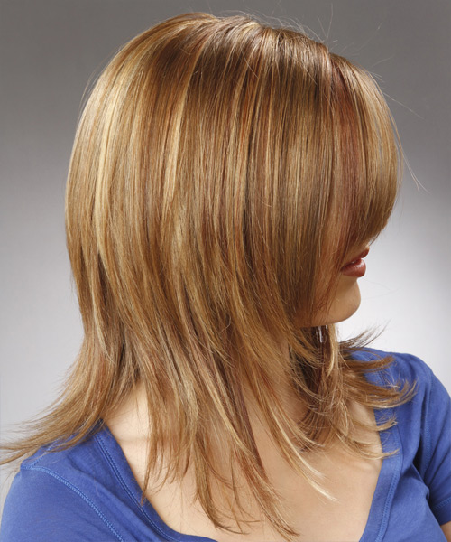 Medium Straight    Champagne Blonde   Hairstyle with Side Swept Bangs  - Side View