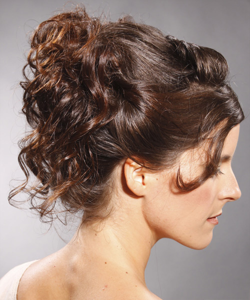 Long Curly Formal   Updo Hairstyle   - Medium Mocha Brunette Hair Color - Side View