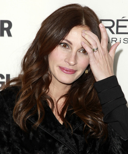 Julia Roberts Long Wavy Casual   Hairstyle   - Dark Brunette (Chocolate) - Side View