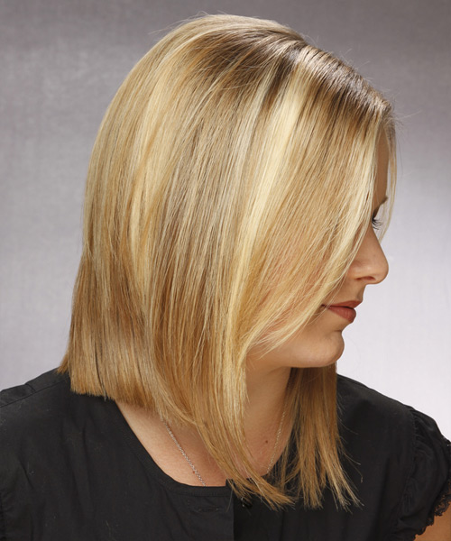 Medium Straight Casual  Bob  Hairstyle   -  Honey Blonde Hair Color - Side View