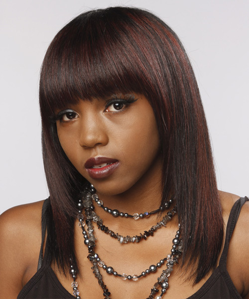 Medium Straight   Dark Brunette and Dark Red Two-Tone   Hairstyle with Blunt Cut Bangs  - Side View