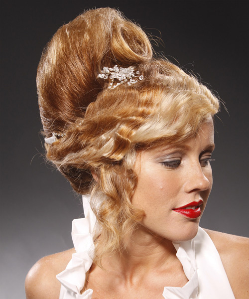 Long Curly Formal   Updo Hairstyle   - Light Copper Brunette Hair Color - Side View