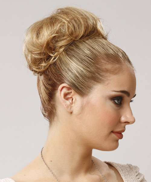 Long Straight Formal   Updo Hairstyle   - Medium Blonde Hair Color - Side View
