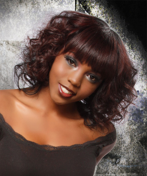 Medium Curly Formal  Bob  Hairstyle with Blunt Cut Bangs  - Mahogany Hair Color - Side View