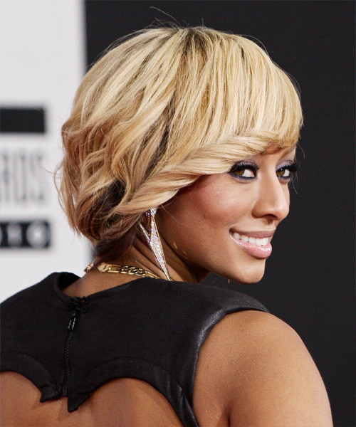 Keri Hilson Medium Wavy Formal    Hairstyle with Side Swept Bangs  - Light Mocha Blonde and Champagne Two-Tone Hair Color - Side View