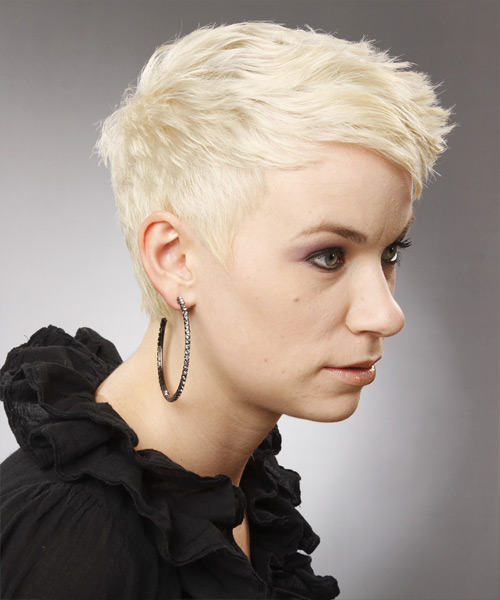 Platinum Pixie  Cut with Side Swept Bangs  - Side View