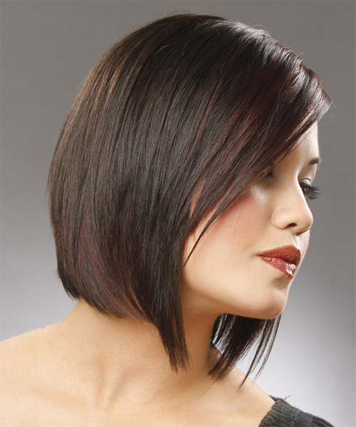 Medium Straight   Black Chestnut  Bob  Haircut   - Side View