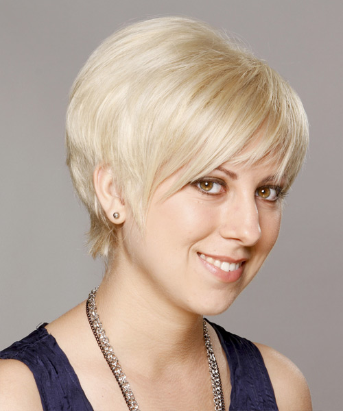 Short Straight Casual Layered Pixie  Hairstyle   - Platinum Hair Color - Side View