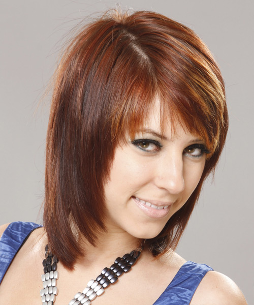 Medium Straight    Auburn Brunette   Hairstyle with Side Swept Bangs  and Dark Blonde Highlights - Side View