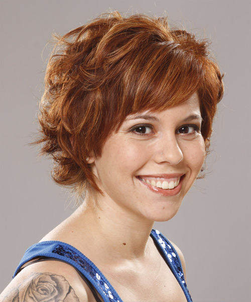 Short Wavy    Ginger Red   Hairstyle with Side Swept Bangs  - Side View