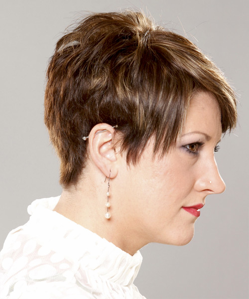 Layered   Brunette Pixie  Cut   with Light Blonde Highlights - Side View