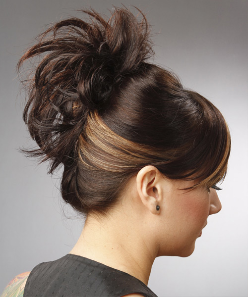Updo Long Straight Casual  Updo Hairstyle with Side Swept Bangs  - Dark Brunette - Side View