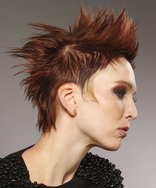 Short Straight Alternative    Hairstyle   - Orange  Hair Color - Side View