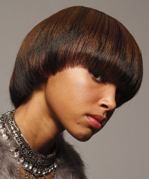 Short Straight   Dark Brunette   Hairstyle with Blunt Cut Bangs  - Side View