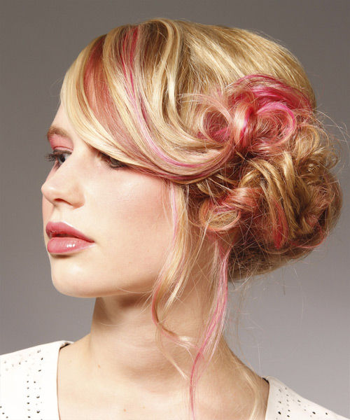 Long Curly Formal   Updo Hairstyle   - Light Bright Blonde Hair Color with Pink Highlights - Side View