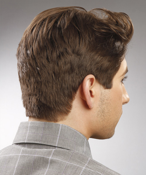Short Wavy    Chocolate Brunette   Hairstyle   - Side View