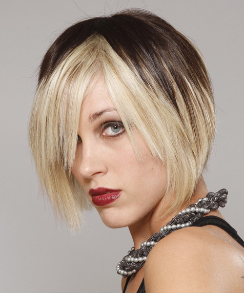 Short Straight Casual    Hairstyle with Razor Cut Bangs  - Dark Platinum Brunette Hair Color - Side View