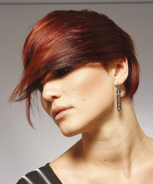 Short Straight    Red   Hairstyle with Asymmetrical Bangs  - Side View