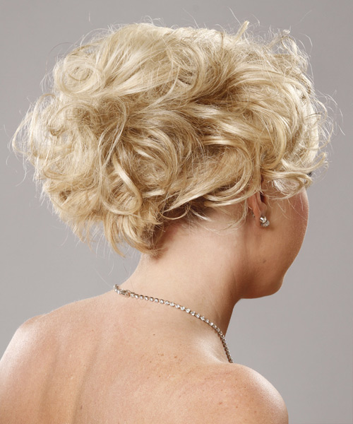 Long Curly   Platinum  Updo    - Side View