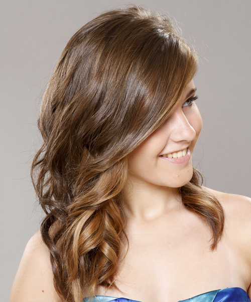 Long Curly Formal    Hairstyle   - Light Brunette and Caramel Two-Tone Hair Color - Side View