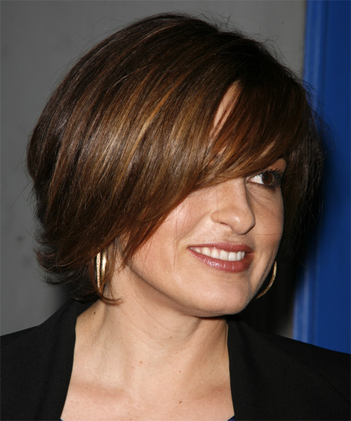 Mariska Hargitay Medium Straight Formal  Bob  Hairstyle with Side Swept Bangs  -  Brunette Hair Color - Side View