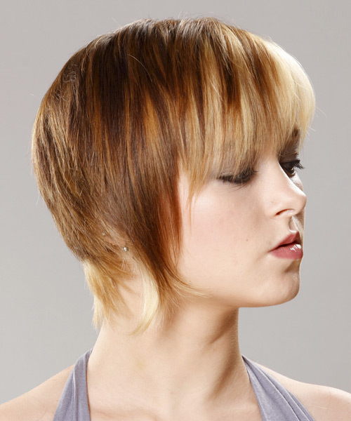 Short Straight Casual    Hairstyle with Razor Cut Bangs  - Caramel and Platinum Two-Tone Hair Color - Side View