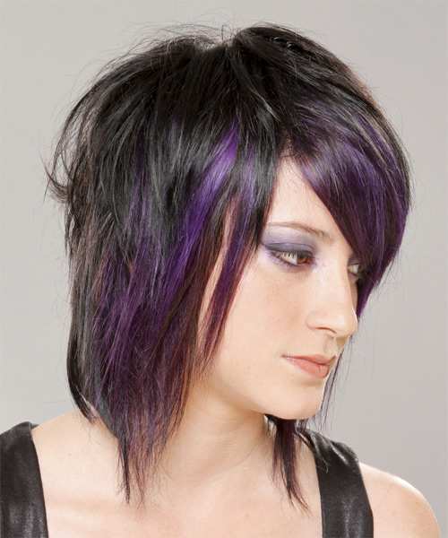 Medium Straight   Purple  and Black Two-Tone   Hairstyle with Razor Cut Bangs  - Side View