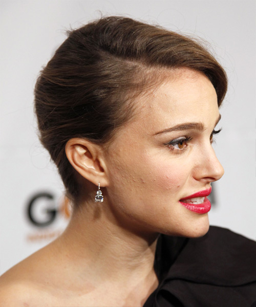 Natalie Portman  Long Curly Formal   Updo Hairstyle   - Medium Caramel Brunette Hair Color - Side View