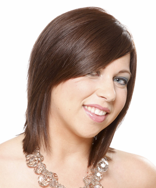 Medium Straight Formal    Hairstyle with Side Swept Bangs  -  Brunette Hair Color - Side View