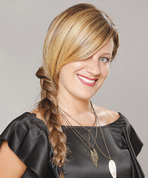 Long Straight    Golden Brunette Braided Updo    - Side View