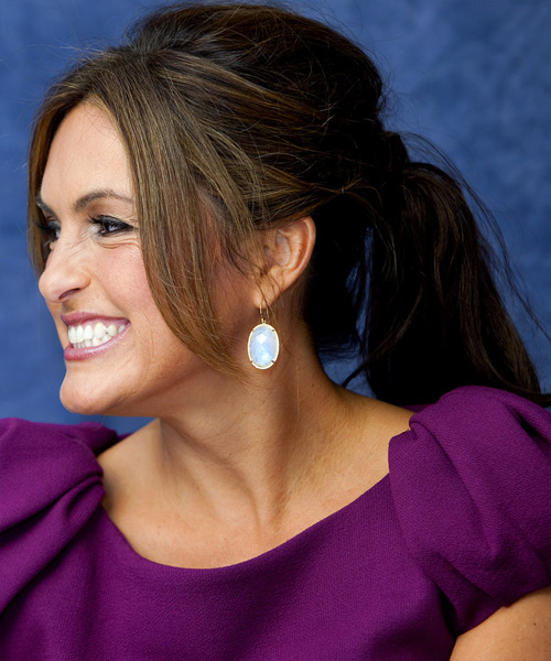 Mariska Hargitay  Long Straight   Dark Brunette  Updo    - Side View