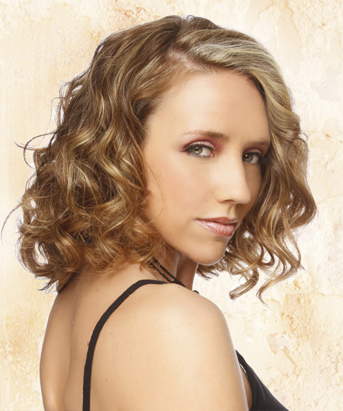 Medium Curly    Ash Blonde   Hairstyle   with Light Blonde Highlights - Side View