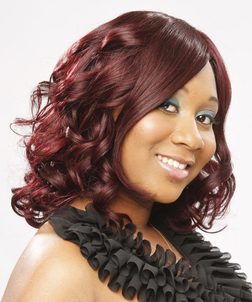 Medium Curly Formal  Bob  Hairstyle   - Medium Red Hair Color - Side View
