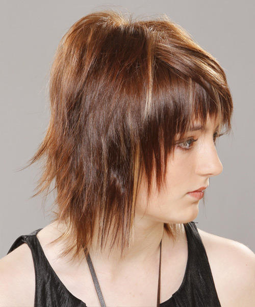 Medium Straight    Chestnut Brunette   Hairstyle with Razor Cut Bangs  - Side View