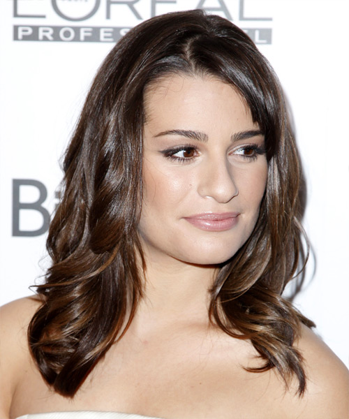 Lea Michele Long Wavy Formal    Hairstyle with Layered Bangs  -  Brunette Hair Color - Side View