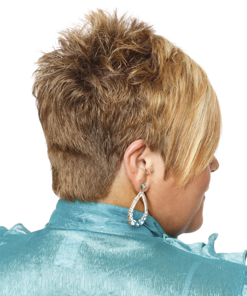 Short Straight Casual  Pixie  Hairstyle with Asymmetrical Bangs  - Light Blonde Hair Color - Side View