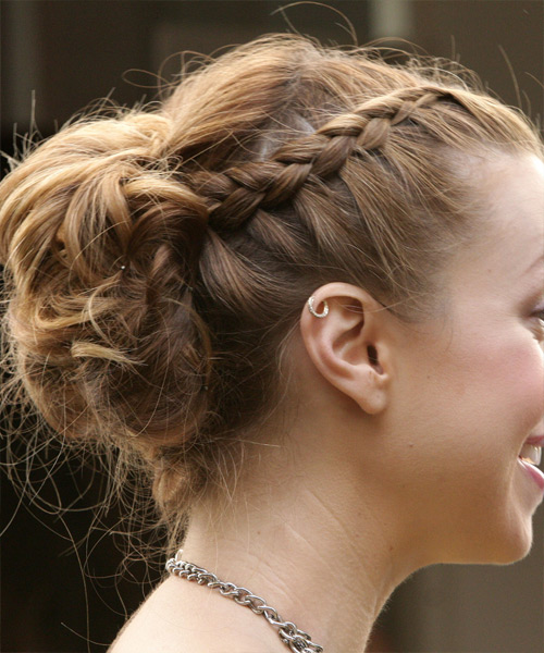 Whitney Port  Long Curly Formal  Braided Updo Hairstyle   -  Brunette Hair Color - Side View