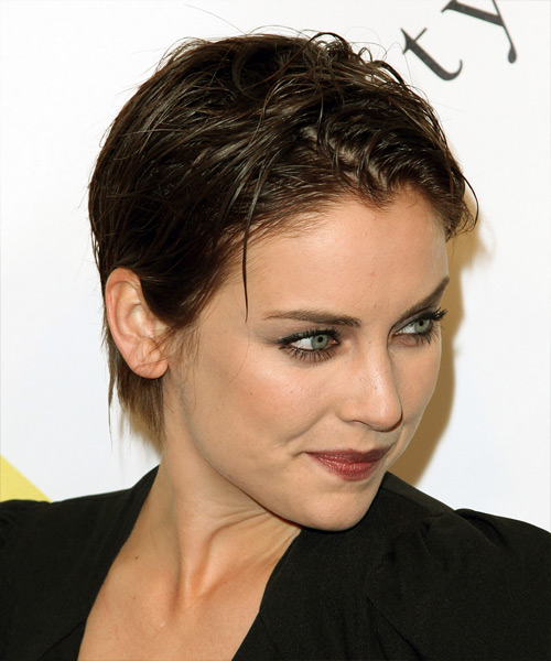 Jessica Stroup Short Straight Casual  Pixie  Hairstyle   - Dark Brunette Hair Color - Side View