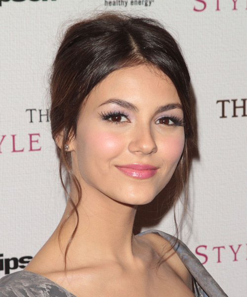 Victoria Justice  Long Straight   Dark Brunette  Updo    - Side View