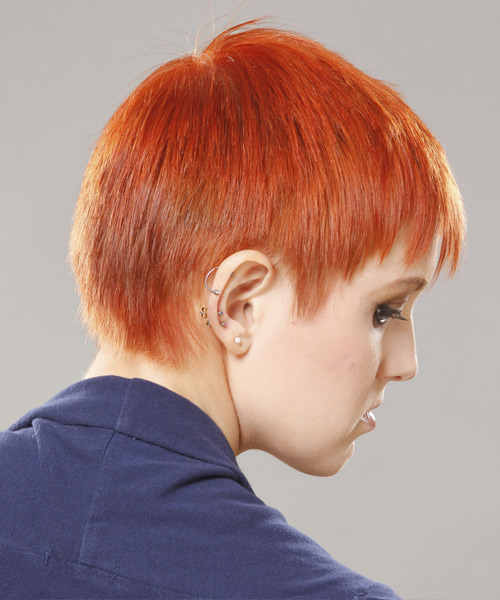 Short Straight Casual  Pixie  Hairstyle with Blunt Cut Bangs  - Orange  Hair Color - Side View