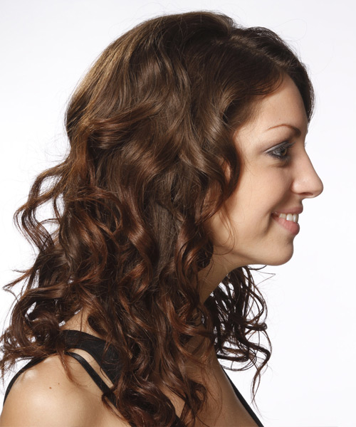 Long Curly Formal    Hairstyle   - Dark Brunette Hair Color - Side View