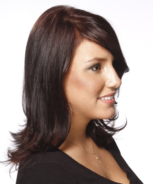 Medium Straight Formal    Hairstyle with Side Swept Bangs  - Dark Red Hair Color - Side View