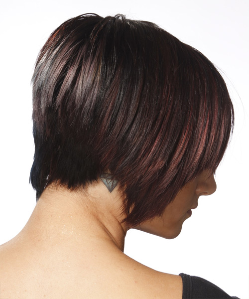 Short Straight Casual  Pixie  Hairstyle   - Black Mahogany  Hair Color - Side View