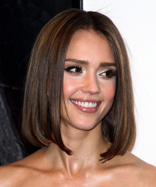 Jessica Alba Medium Straight   Dark Brunette Bob  Haircut   with Light Brunette Highlights - Side View