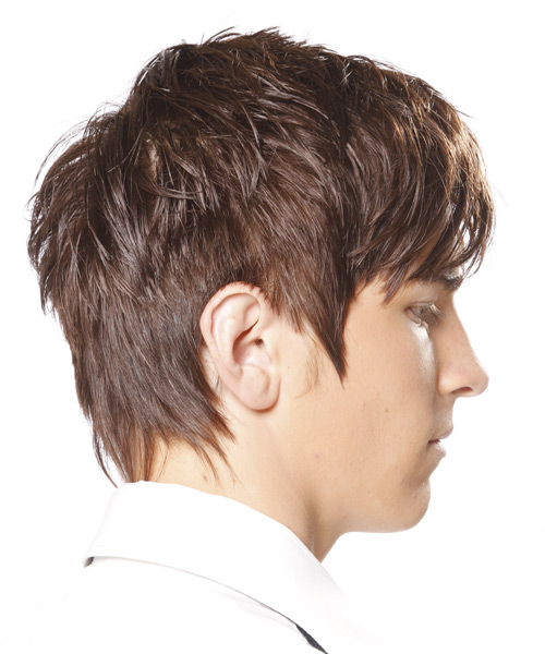 Short Straight Casual    Hairstyle with Razor Cut Bangs  - Light Chocolate Brunette Hair Color - Side View